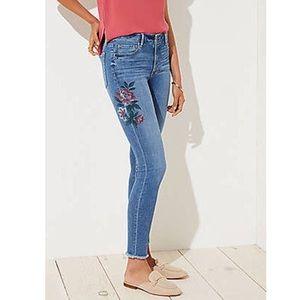 LOFT Floral Painted Raw Hem Skinny Jeans